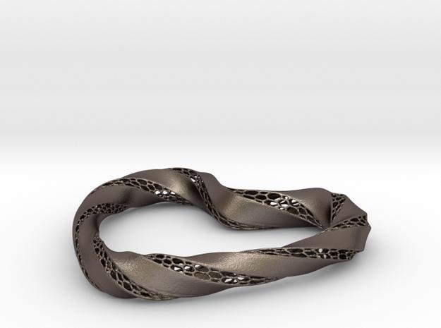 Love-heart in Polished Bronzed Silver Steel