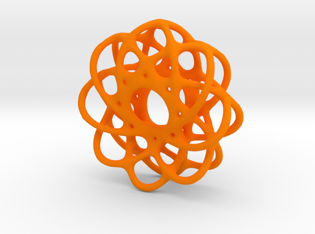 Spiro Pendant No.1 in Orange Processed Versatile Plastic