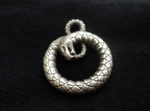 Ouroboros Pendant in Natural Silver