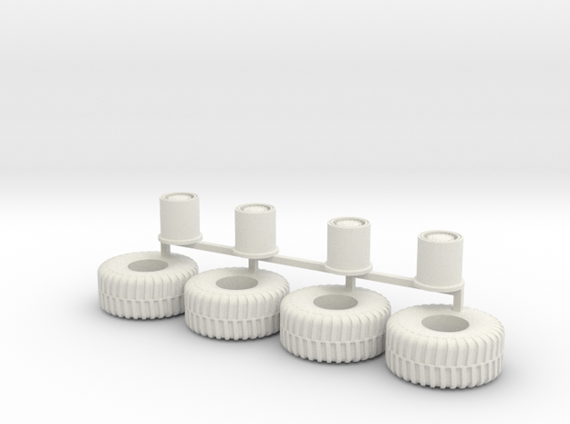 HO scale heavy Equipment Tires 01 in White Natural Versatile Plastic