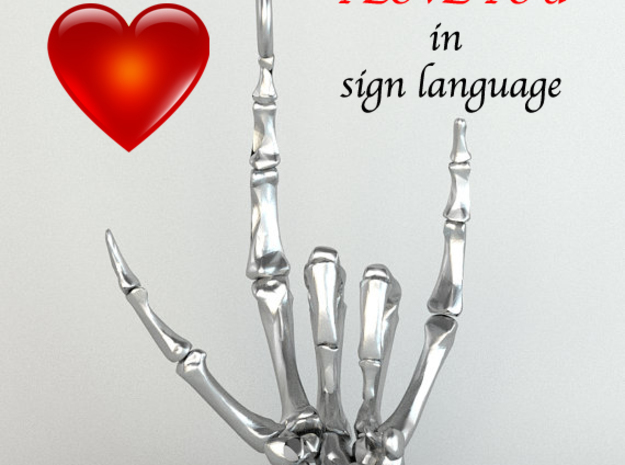 I Love You in Sign Language - Pendant  in Raw Silver