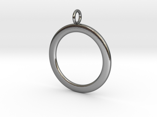 Ring-shaped pendant — smooth in Polished Silver