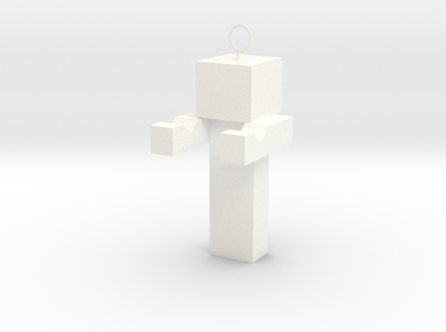 Minecraft Inspired Phone Standkey Chain in White Strong & Flexible Polished