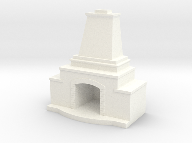 Stone Fireplace in White Processed Versatile Plastic