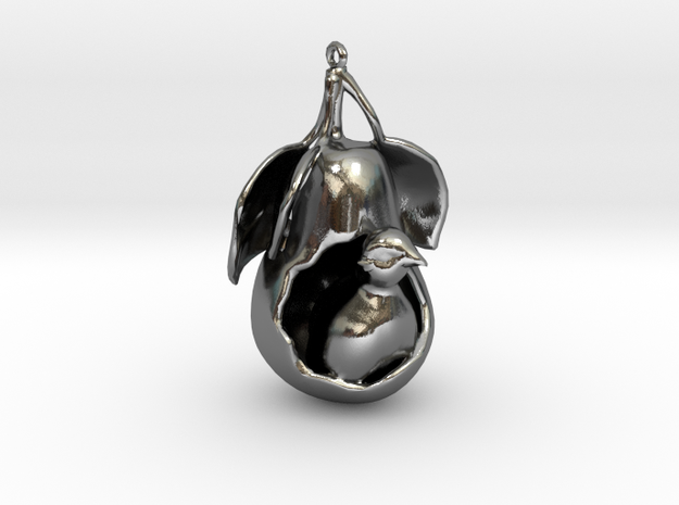 """12 Days of Christmas"" Ornament- Partridge in a Pe in Polished Silver"