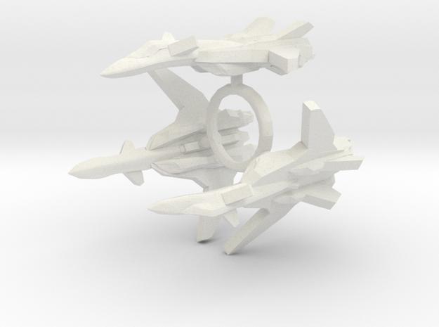 3x YF-19 Alpha One 1/1000 in White Natural Versatile Plastic