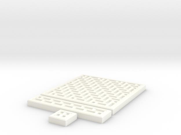 SciFi Tile 16 - HerringBone walkway in White Processed Versatile Plastic