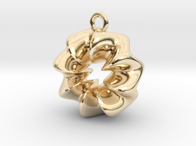Wavy Ring Pendant in 14K Yellow Gold