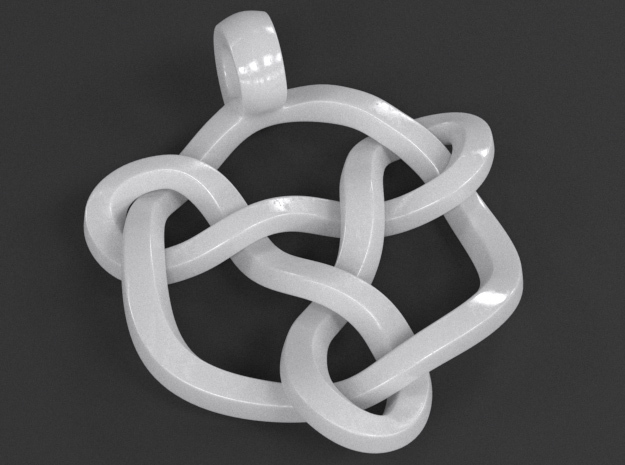 Celtic Knot Pendant 01 in White Strong & Flexible Polished