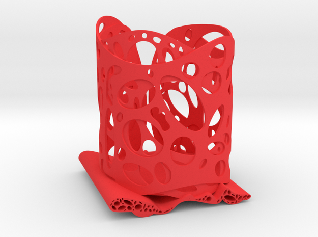 Functional Art Pencil Holder in Red Strong & Flexible Polished
