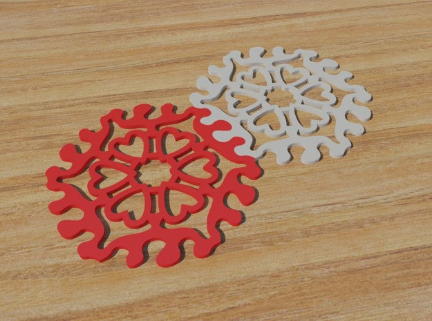 Drink Coaster - Interlocking - Hearts Pattern in White Strong & Flexible