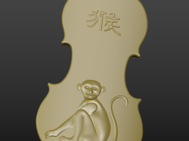 Year of monkey in Polished Silver