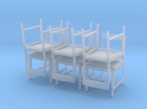 1:48 Danish Modern Chair Set in Smooth Fine Detail Plastic
