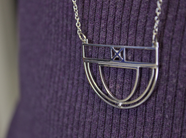 Architectural Pendant in Rhodium Plated Brass