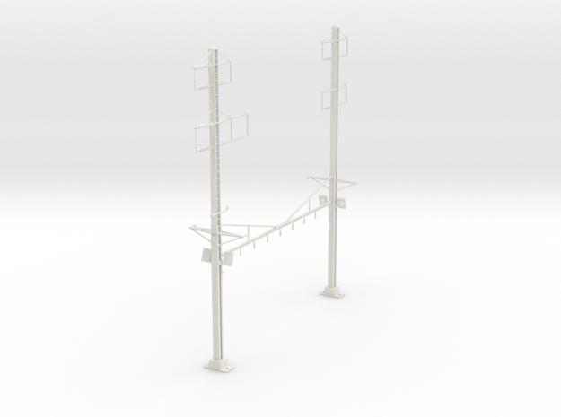 PRR K BRACE 4 TRACK INTERLOCKING 2-3PHASE  in White Natural Versatile Plastic
