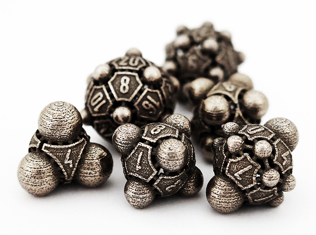 Nucleii Dice Set in Polished Bronzed Silver Steel