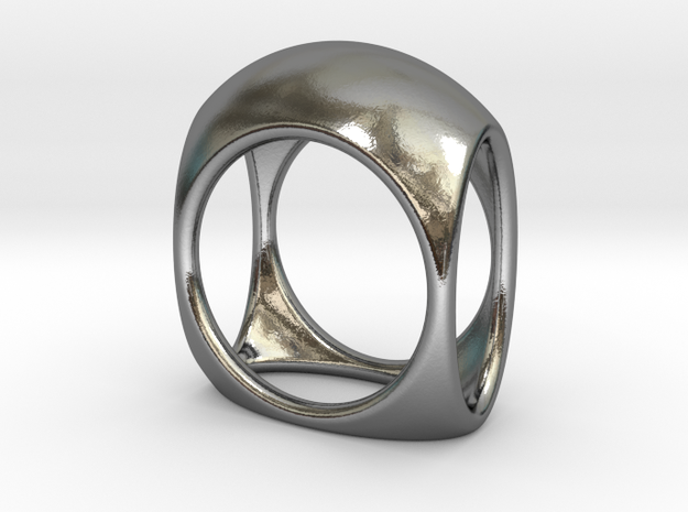 Square Ring model B - size 10 in Polished Silver