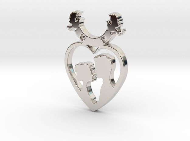 Two in One Heart with Doves V2 Pendant - Amour in Rhodium Plated Brass
