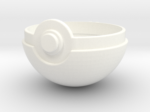 Pokeball Top Half in White Processed Versatile Plastic
