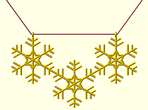 Snowflakes Necklace in Polished Gold Steel