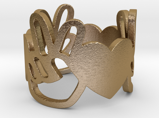 Peace and Love Ring Size 8.5 in Polished Gold Steel