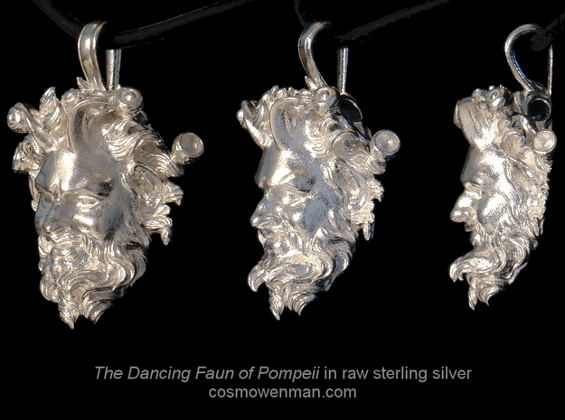 Dancing Faun of Pompeii pendant in Natural Silver