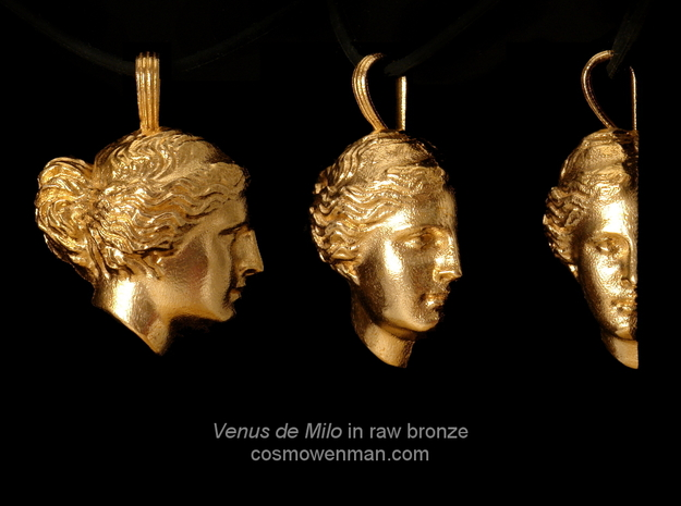 Venus de Milo pendant in Natural Bronze