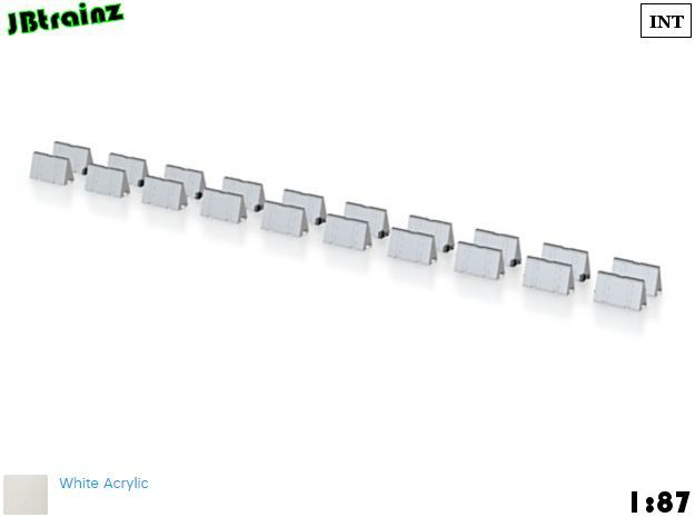 20 Road Barriers (1:87) in Smooth Fine Detail Plastic