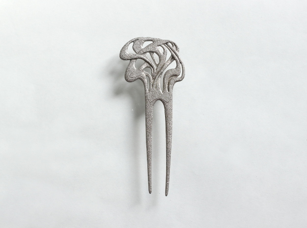 Mucha Hairpin in Polished Nickel Steel