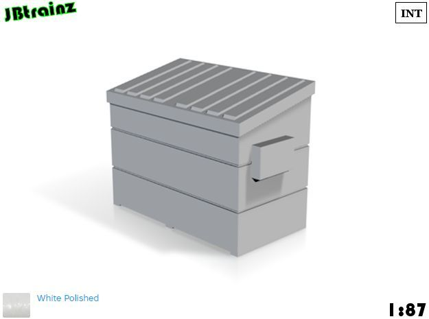 Dumpster small (1:87) in White Strong & Flexible Polished