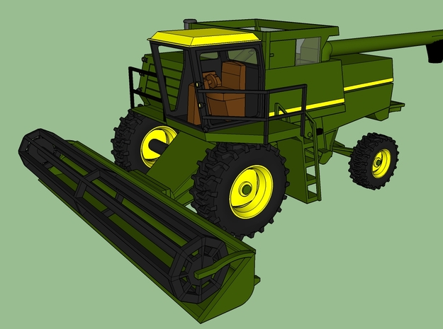 N Farm Combine V2 with Grain Header in Smoothest Fine Detail Plastic