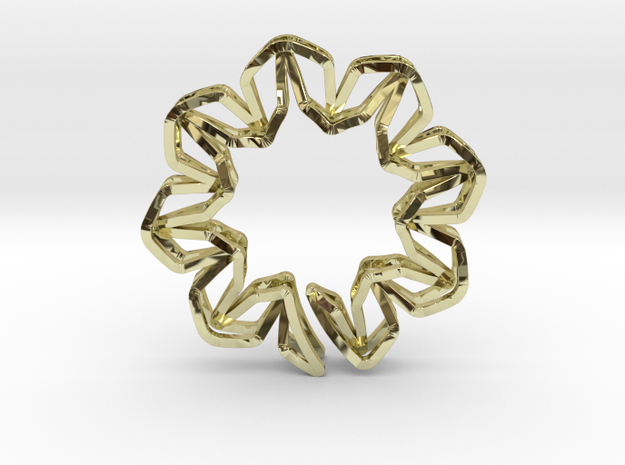 YOUNIC Blossom 350R, Pendant in 18k Gold Plated Brass