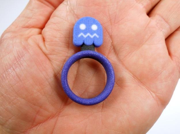 "Pac-Man ""Blue Enemy"" Ghost Ring 3d printed"
