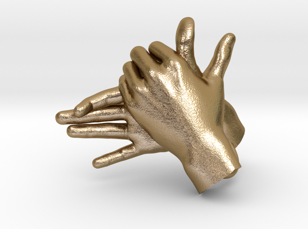 Dog - Hand Shadows in Polished Gold Steel