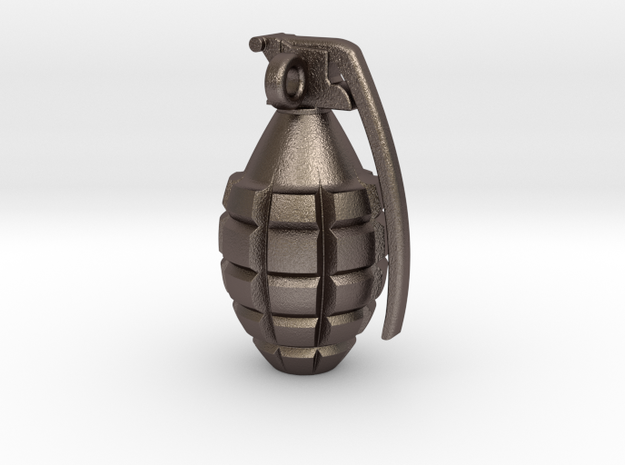 Keychain Grenade      25mm height in Polished Bronzed Silver Steel