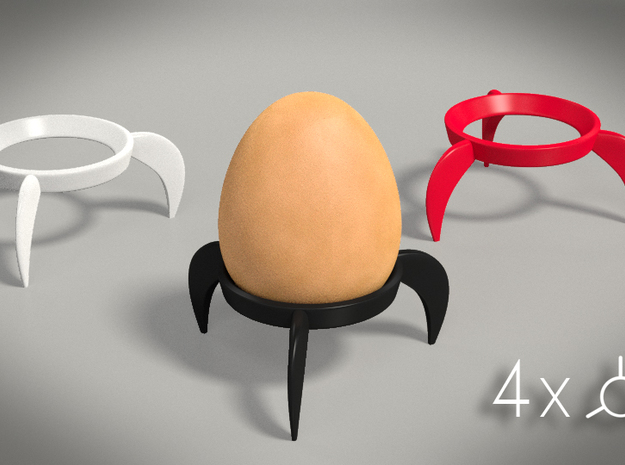 Egg Rocket 4x 3d printed render of the cups and an egg