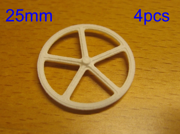 25mm wheels, 4pcs in White Strong & Flexible