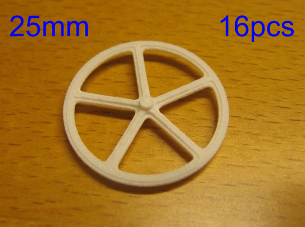 25mm wheels, 16pcs in White Strong & Flexible