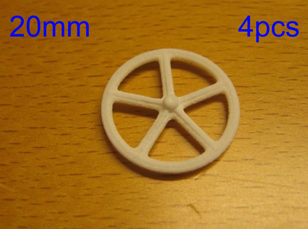 20mm wheels, 4pcs in White Strong & Flexible