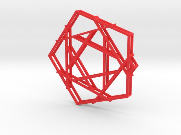 Penta-Plaid Pendant in Red Processed Versatile Plastic
