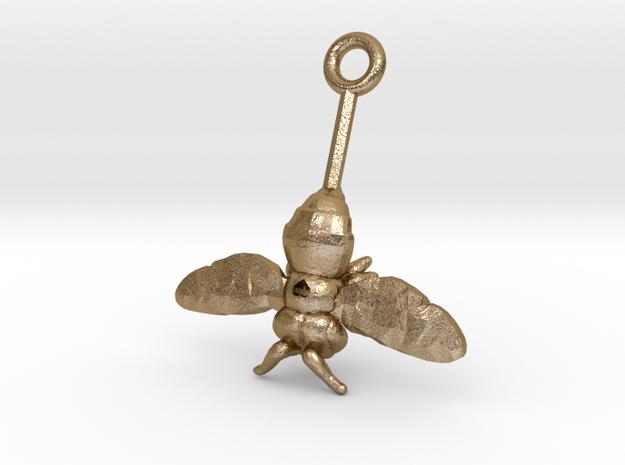 Lrg. Single Stem Bee Love Metal & Plastic in Polished Gold Steel