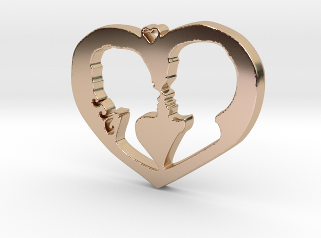 Two in Love Pendant - Amour Collection in 14k Rose Gold Plated Brass