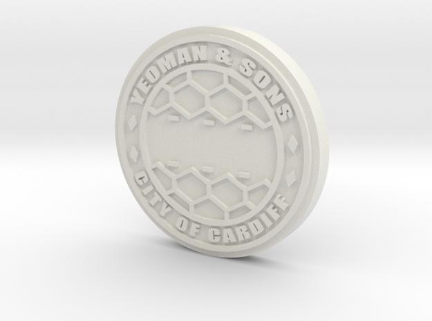 28mm/32mm Custom 'City Of Cardiff' Manhole Cover in White Natural Versatile Plastic