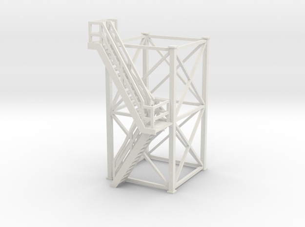 'S Scale' - 10'x10'x20' Tower With Outside Stairs in White Natural Versatile Plastic