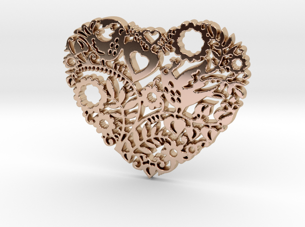 Two Birds in a Heart's Garden - Amour  in 14k Rose Gold Plated Brass