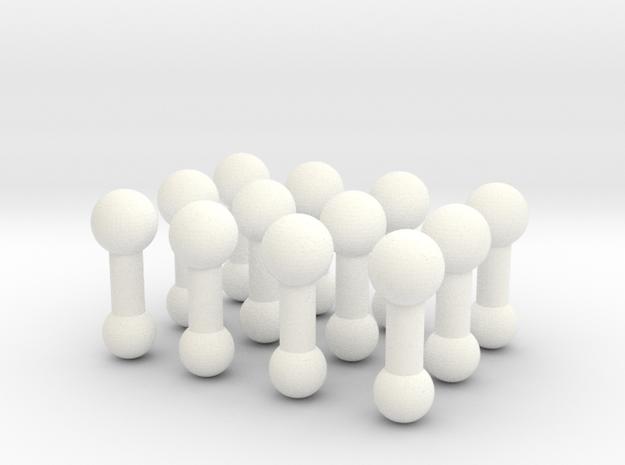 1:6 scale Female Neck Peg 12x in White Processed Versatile Plastic
