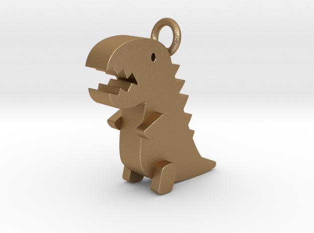 Little Dinosaur Pendant in Matte Gold Steel