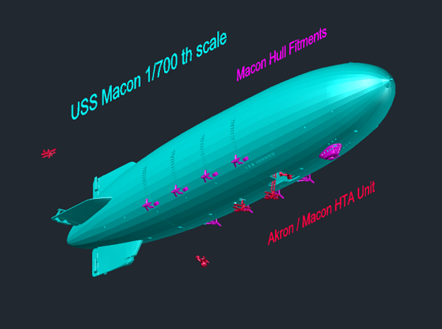 USS Macon 1/700th scale in White Natural Versatile Plastic
