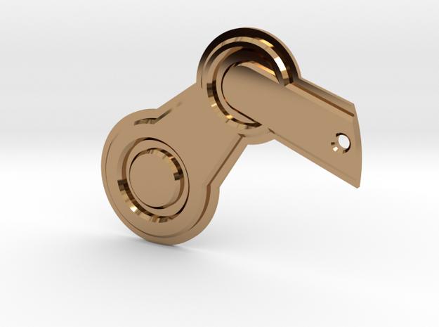 Steam Logo Keychain in Polished Brass
