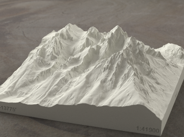 6'' Grand Tetons, Wyoming, USA, Sandstone 3d printed Radiance rendering of model, viewed from the East